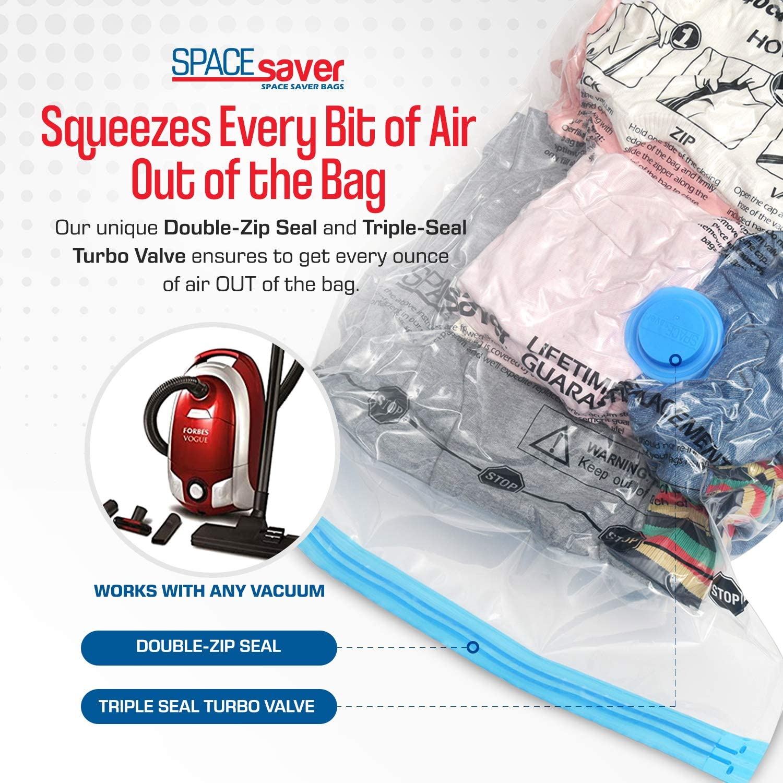 Jumbo 8 Pack SPACESAVER Bolsas de Almacenamiento de vac/ío Premium /¡Bomba Manual para Viajar Doble-Zip Seal y Triple Seal Turbo-Valve para un Ahorro m/áximo de Espacio. /¡80/% m/ás de Almacenamiento