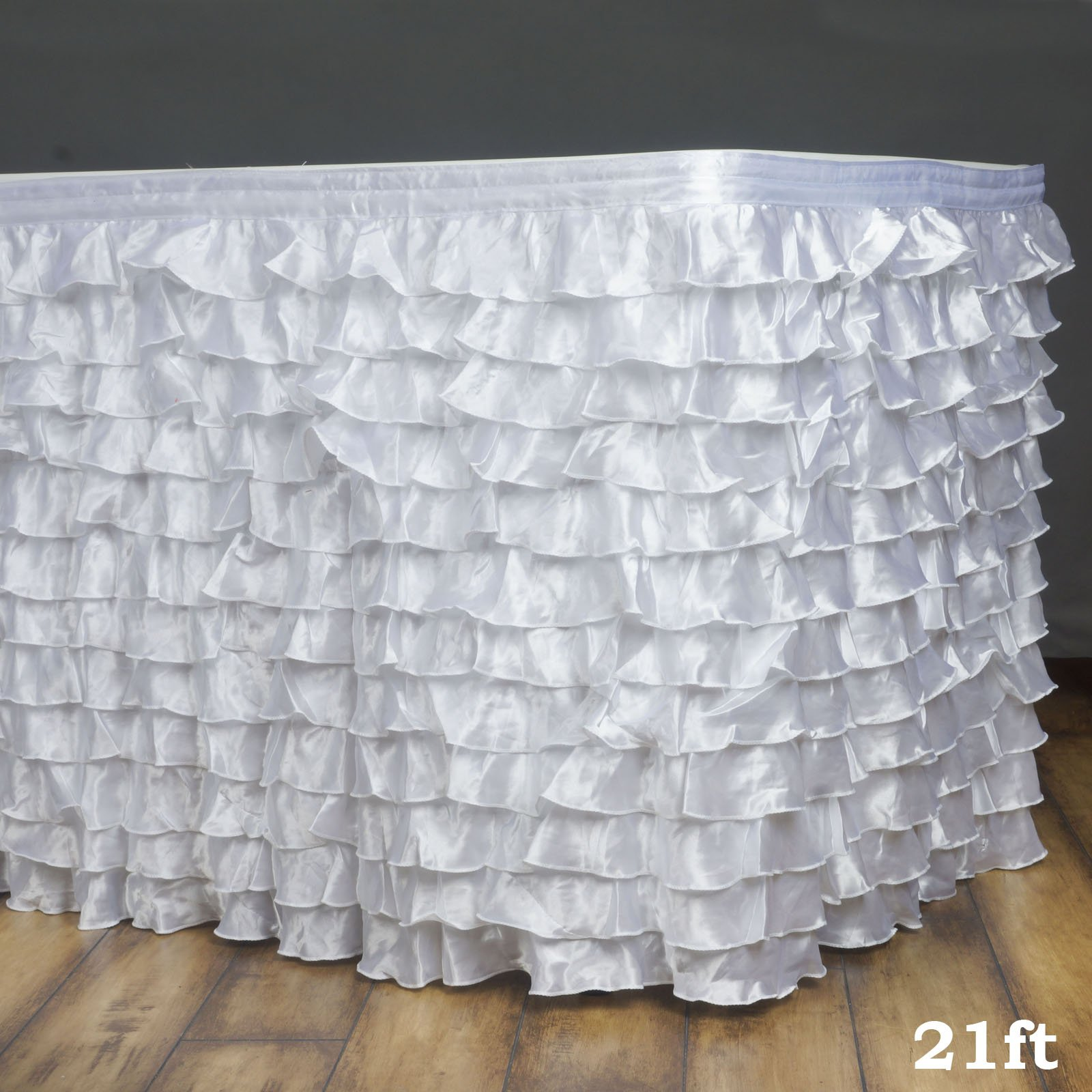 Efavormart 21ft Flamenca Satin Ruffle Table Skirt for Kitchen Dining Catering Wedding Birthday Party Decorations Events - White
