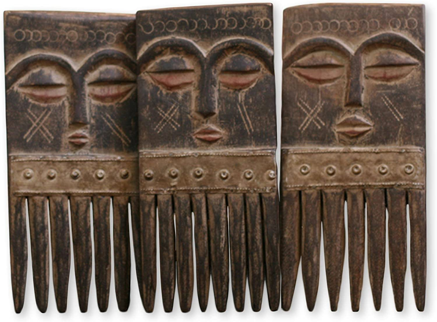 NOVICA Handcrafted Carved Brown Wood Comb Sculptures with Faces Wall Art, Ashanti Wisdom' (Set of 3)