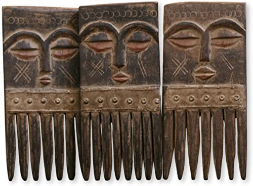 NOVICA Handcrafted Carved Brown Wood Comb Sculpture