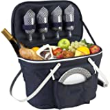 Picnic at Ascot Collapsible Insulated Picnic Basket Equipped with Service For 4 - Navy