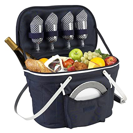 Picnic At Ascot Patented Collapsible Insulated Picnic Basket Equipped With Service For 4  Designed And Assembled In Usa by Picnic At Ascot