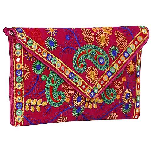 Made In India Evergreen Handmade Embroidered Banjara Foldover Clutch