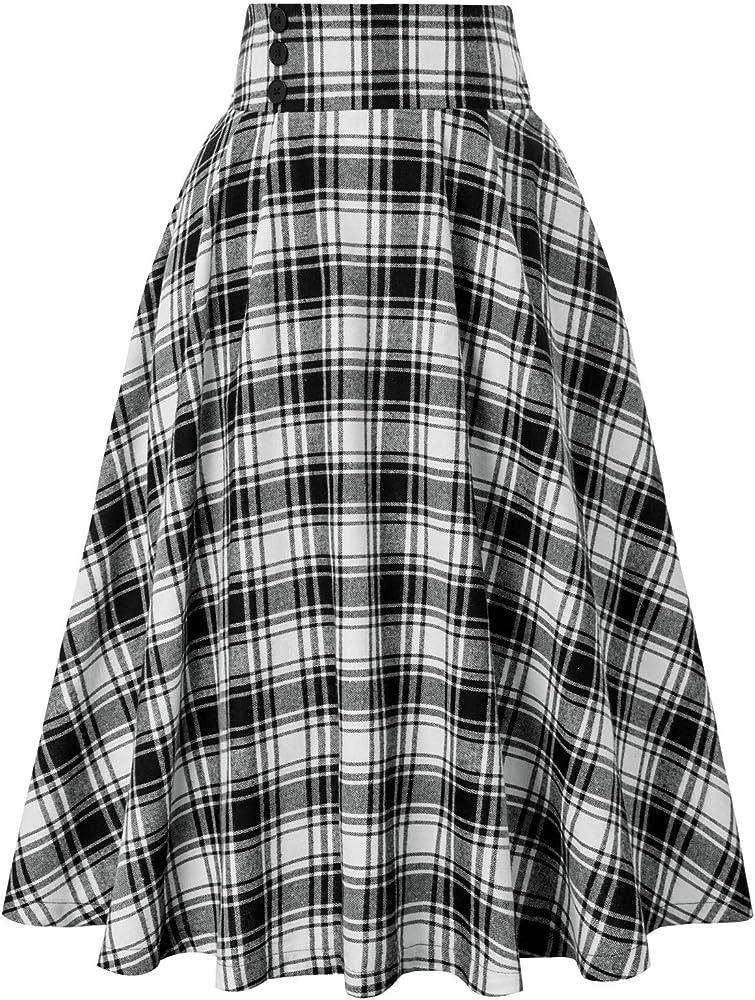 Belle Poque 50s Retro Vintage Plaid Rock - Falda para mujer ...