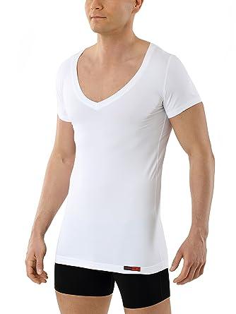 ALBERT KREUZ Camiseta Interior Blanca para Hombre de Tejido Técnico Algodón-Coolmax antisudor de Manga Corta y con Cuello de Pico Piel Seca