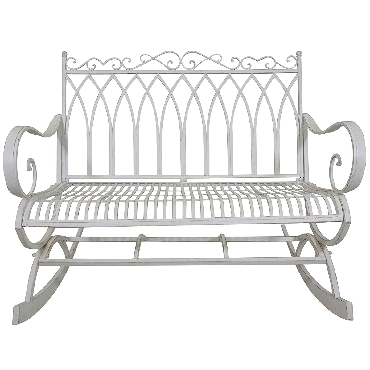 Titan Outdoor Metal Rocking Bench White Porch Patio Garden Seat Deck Decor