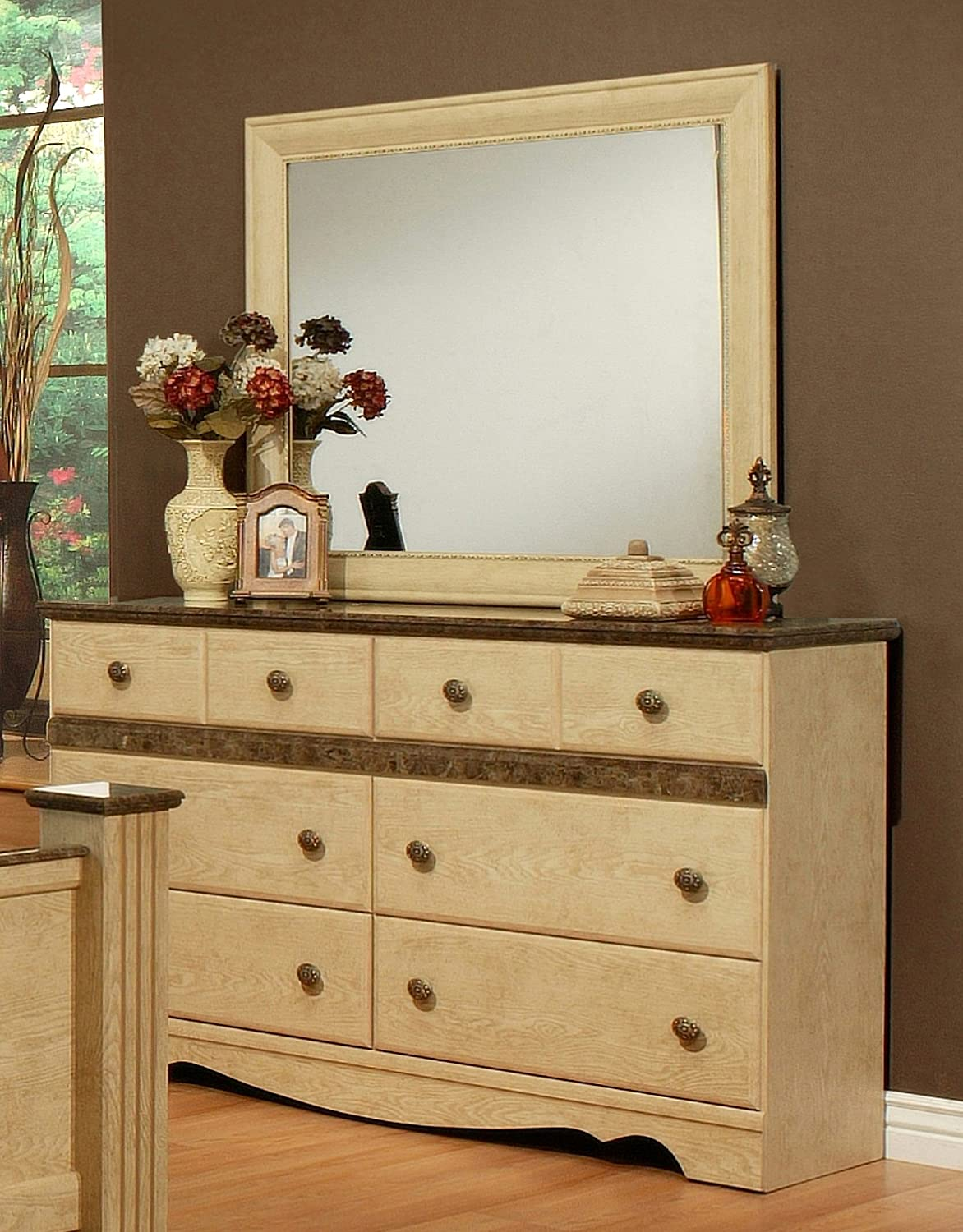 Sandberg Furniture Casa Blanca 6-Drawer Dresser with Mirror