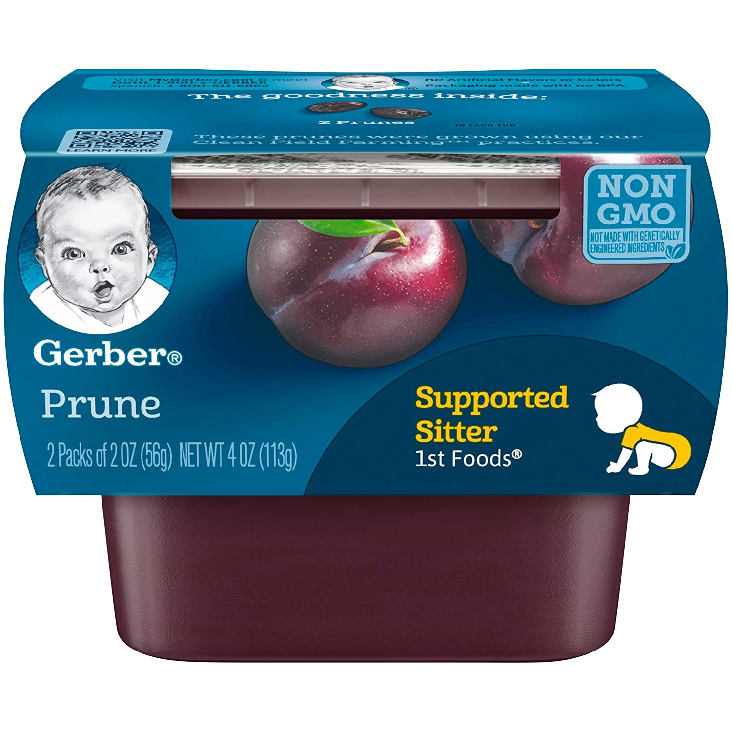 Gerber Purees 1st Foods Prune Baby Food Tubs, 2 Ounce Tub, 2 Count (Pack of 8)