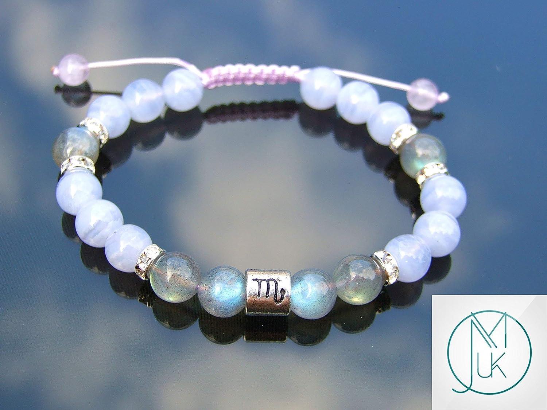 Scorpio Fire Labradorite Blue Lace Agate Birthstone Bracelet 6-9