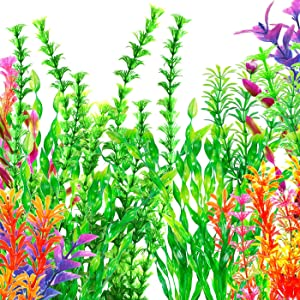 Fish Tank Decorations, OrgMemory Aquarium Décor Plastic Plants, (19pcs, 7.5