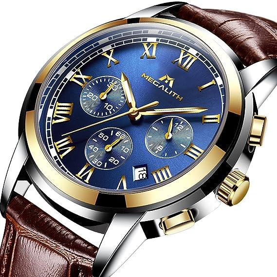 Relojes Hombre Reloj para Hombre Deportivo Cronografo Impermeable Luminosos Analogicos Relojes de Pulsera de Cuero Clasicos