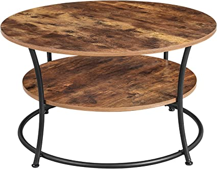 Vasagle Table Basse Table De Salon Buffet Bas 2 Niveaux Avec Etagere De Rangement Montage Facile Structure En Metal Style Industriel Marron Rustique Lct80bx Amazon Fr Cuisine Maison