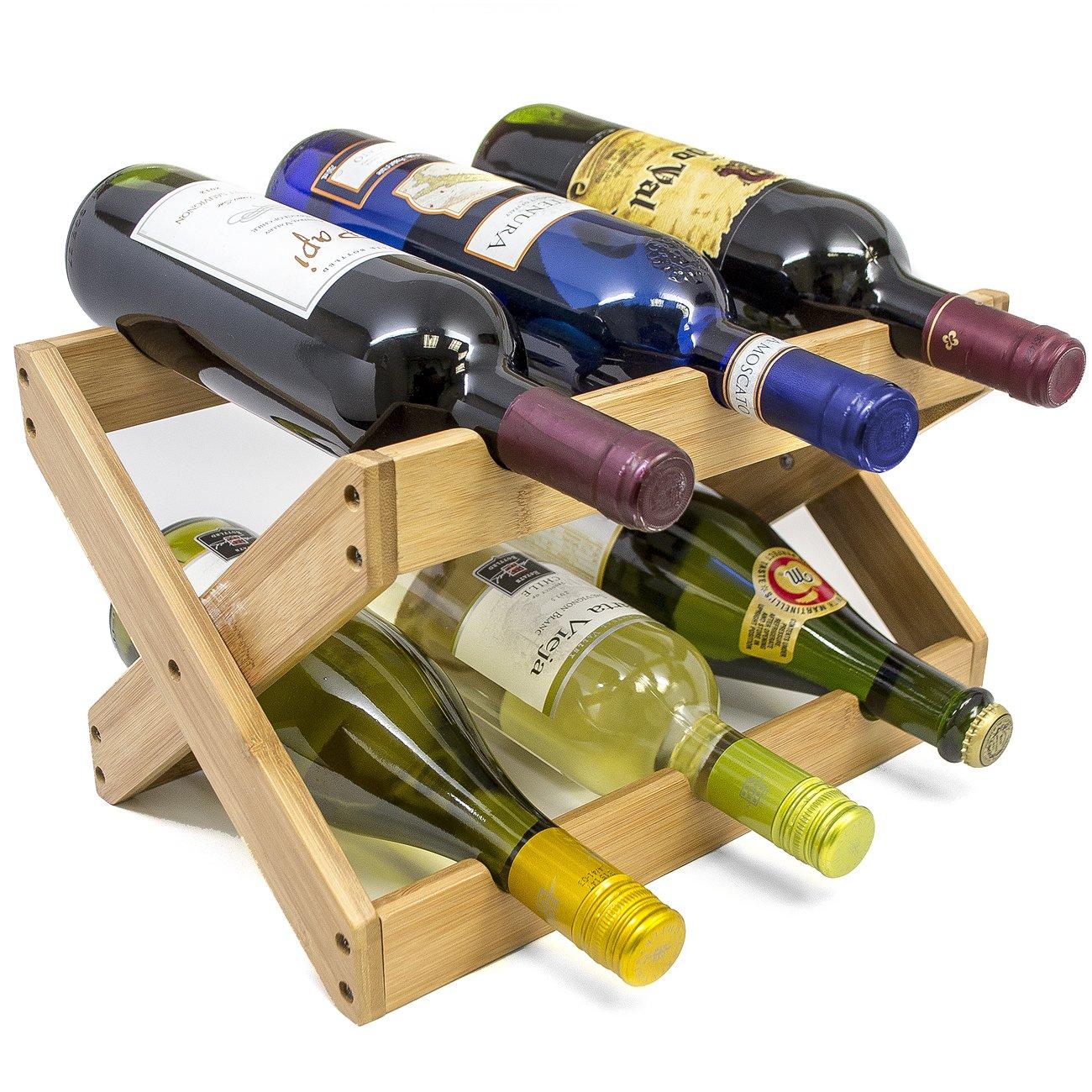 shop amazoncomtabletop wine racks - sorbus bamboo foldable countertop wine rack bottles (bamboo)
