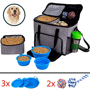 Dog Travel Bag for Pet Accessories and Food Bag - Airline Approved Pet Carrier Food Bag for Puppy Stuff - Pet Travel Tote Includes 2x Food Containers, 1 Large + 2 Small Collapsible Dog Travel Bowls