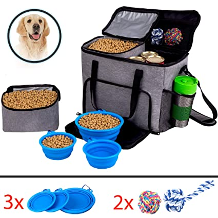Dog Travel Bag for Pet Accessories and Food Bag Airline Approved Pet Carrier Food Bag for Puppy Stuff Pet Travel Tote Includes 2x Food Containers,