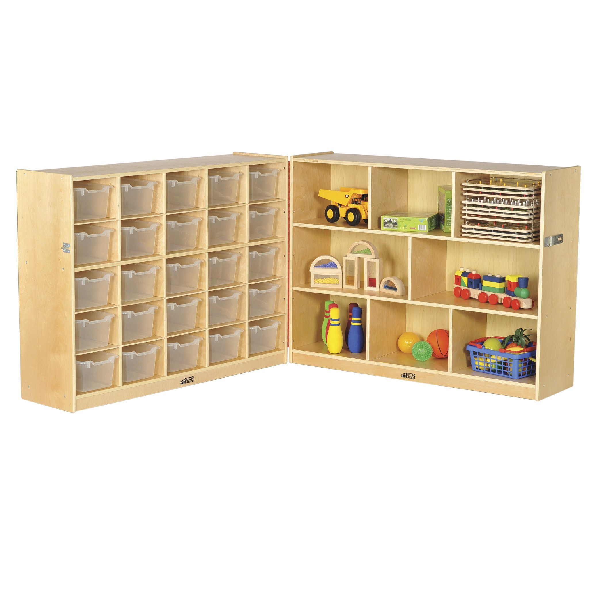 ECR4Kids Birch Fold & Lock Storage Cabinet with Casters, 8 Shelves, 30 Cubbies with Bins, 36'' H, Clear