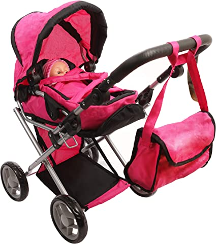 Amazon Com Mommy Me Baby Doll Stroller Deluxe Foldable 4 In 1