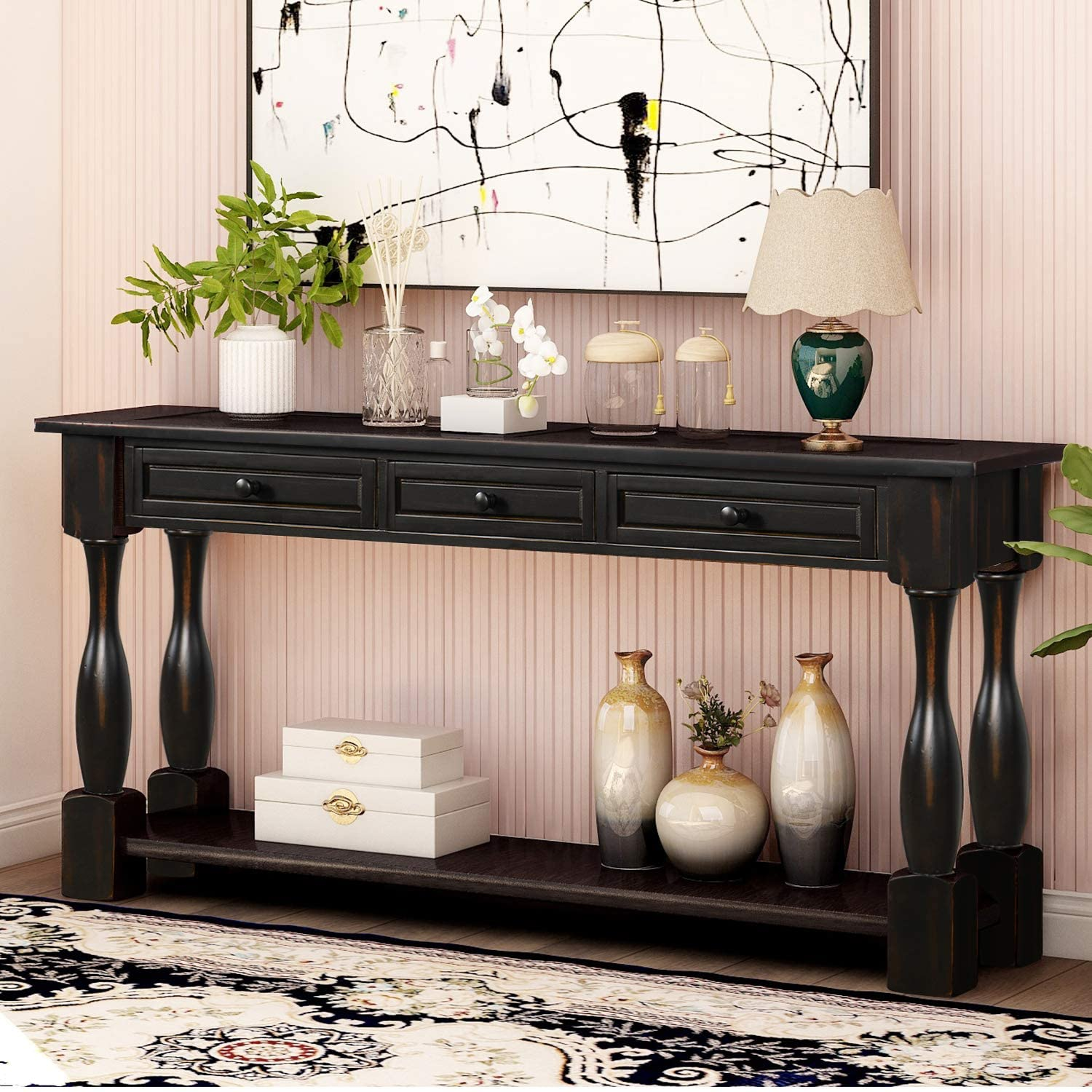 P Purlove Console Table For Entryway 64 Wood Sofa Table With Storage Drawers And Bottom Shelf For Hallway Living Room Antique Black Kitchen Dining