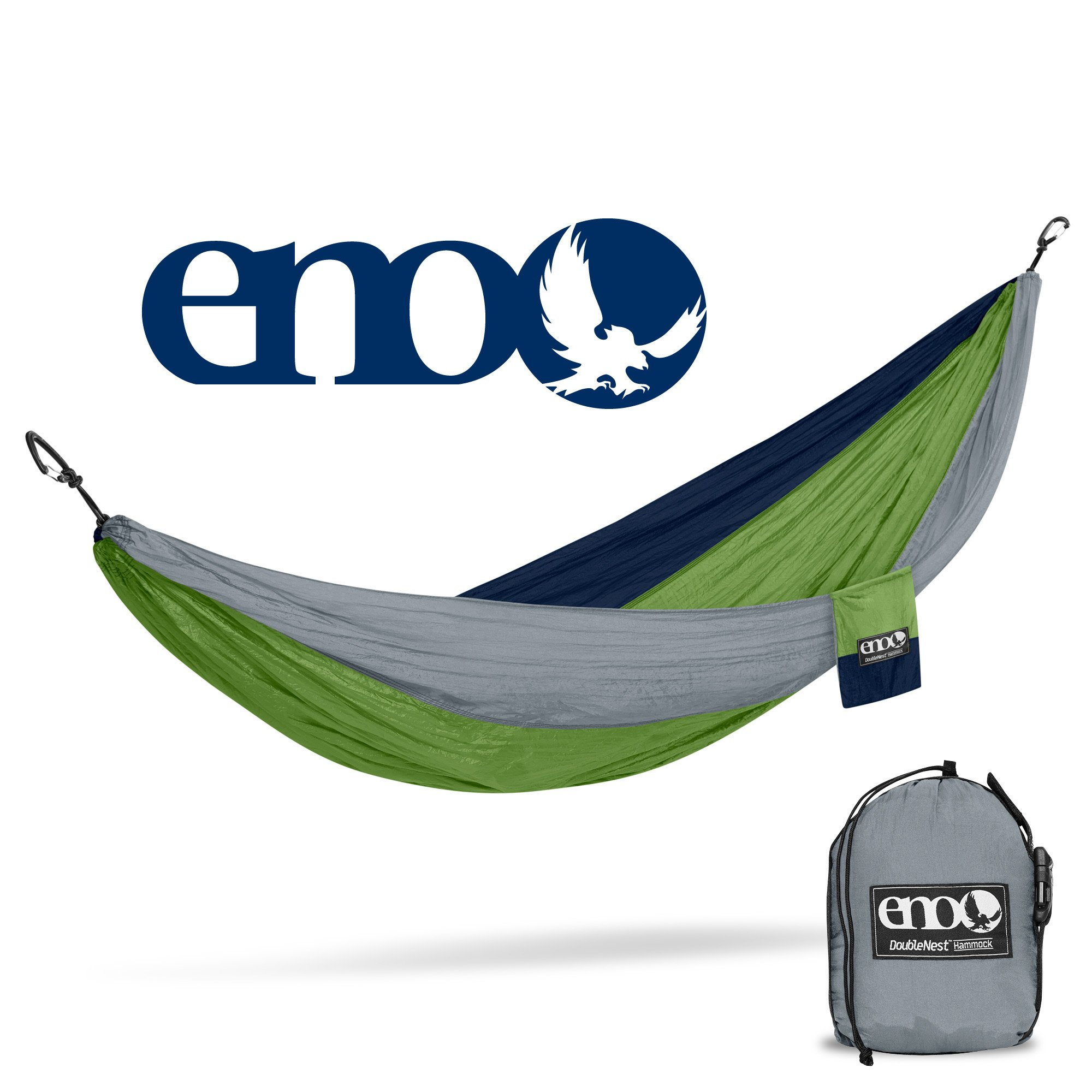 ENO - Eagles Nest Outfitters DoubleNest Hammock, Portable Hammock for Two for Outdoor Camping, Special Edition Colors, Grey/Green/Blue by ENO