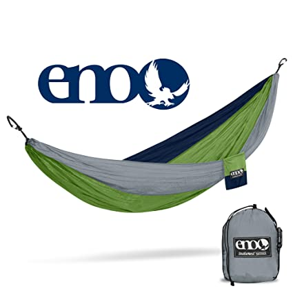 Eagles Nest Outfitters ENO DoubleNest Hammock, The Original Portable Outdoor Camping Hammock for Two, Special Edition Colors, Grey/Green/Blue
