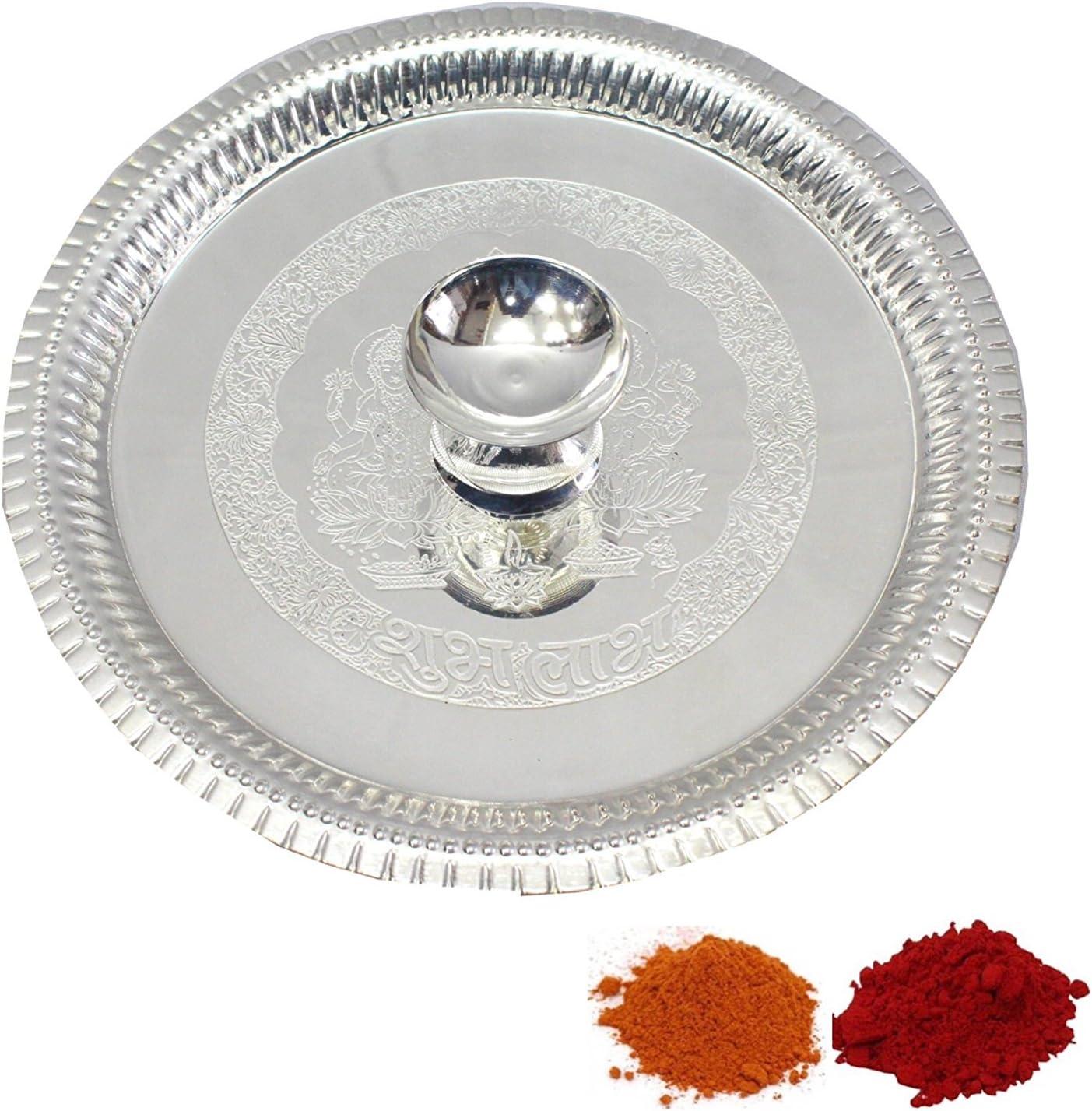 Indian Traditional Decorative Pooja thali Beautiful Lakshmi Festival Ethnic Gift for her/Kankavati/Diwali/Indian Handicraft/Home/Temple/Office/Wedding Gift/Bulk Gift. GS10
