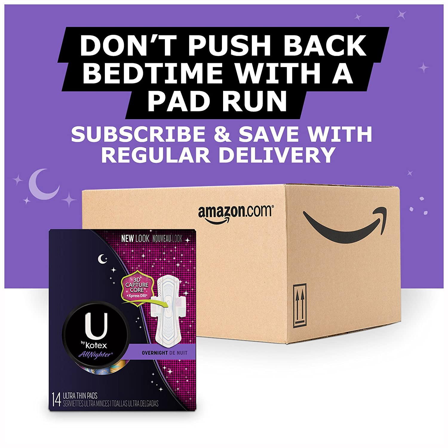 Amazon.com: Kotex All Night Ultra Thin Pads with Wings, Unscented, 14 Count: Health & Personal Care