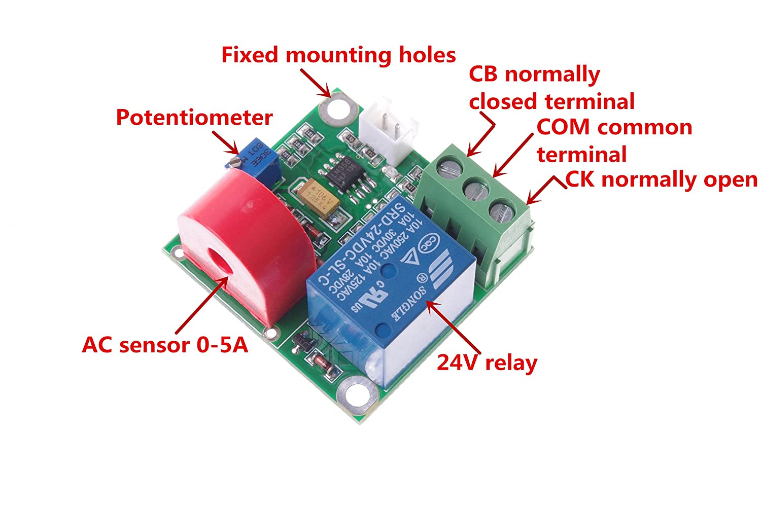 Smakn 24v Ac Current Detection Module 0 5a Relay Common Terminal Sensor W Home Audio Theater