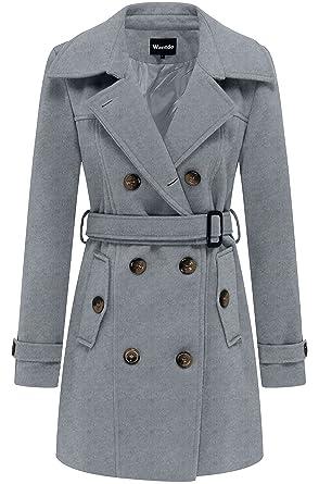 online store b923d a0ed2 Wantdo Damen Zweireiher Mantel mit Gürtel Wintermantel