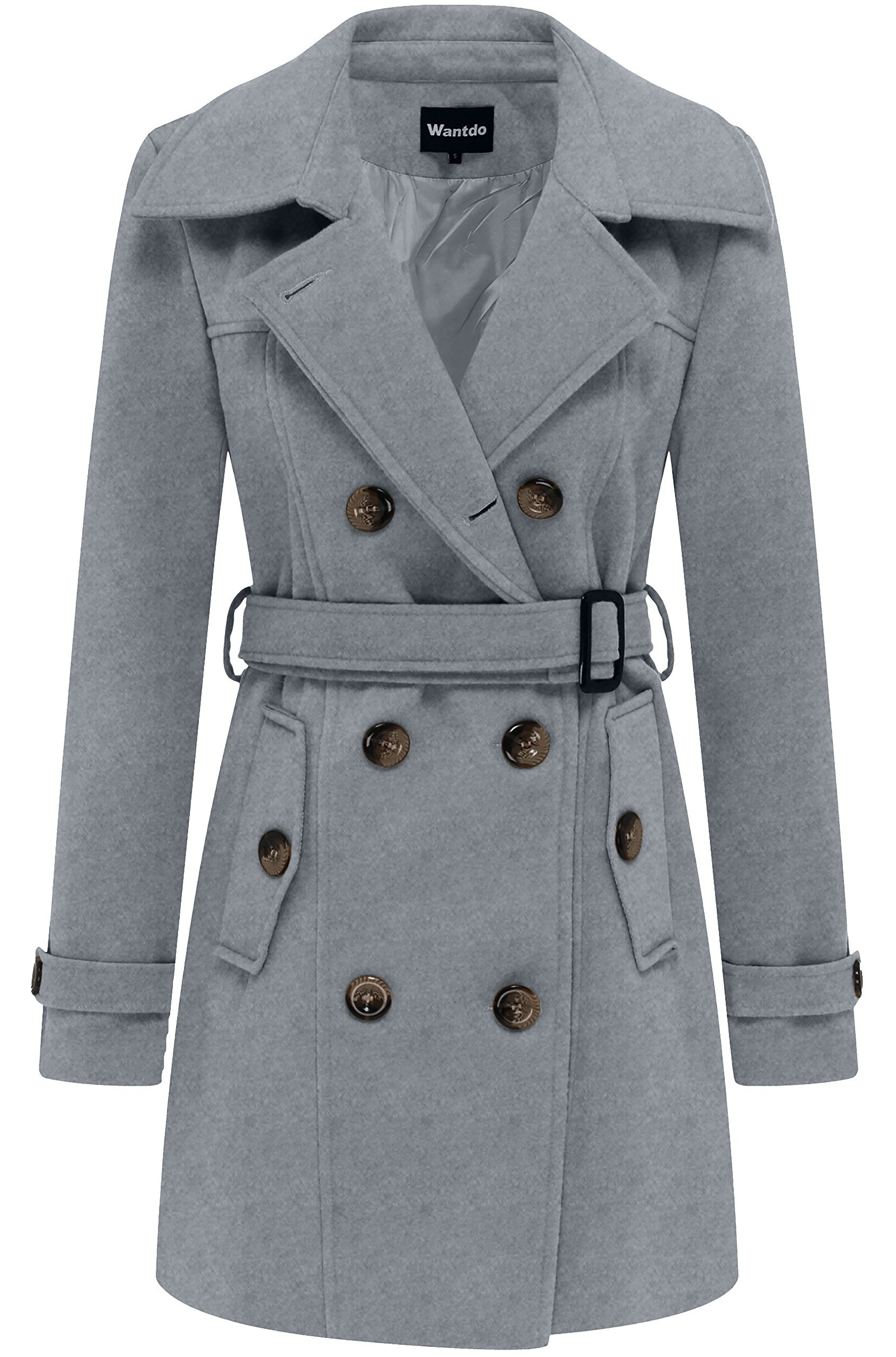 Wantdo Women's Double Breasted Pea Coat with Belt US Large Grey