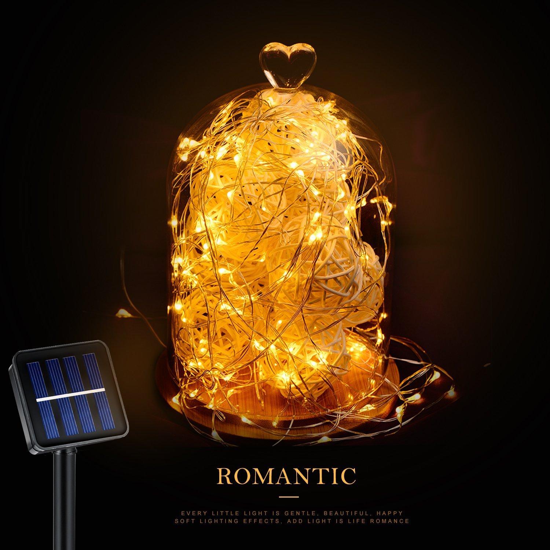 100 LED Solar Lichtekette, 33Ft Kupfer Lichtekette, Wasserdichte sternenhelle Lichtekette für inne und auße Ausschmückung, Party am Weihnachten, Feiertag (warme Weiß)