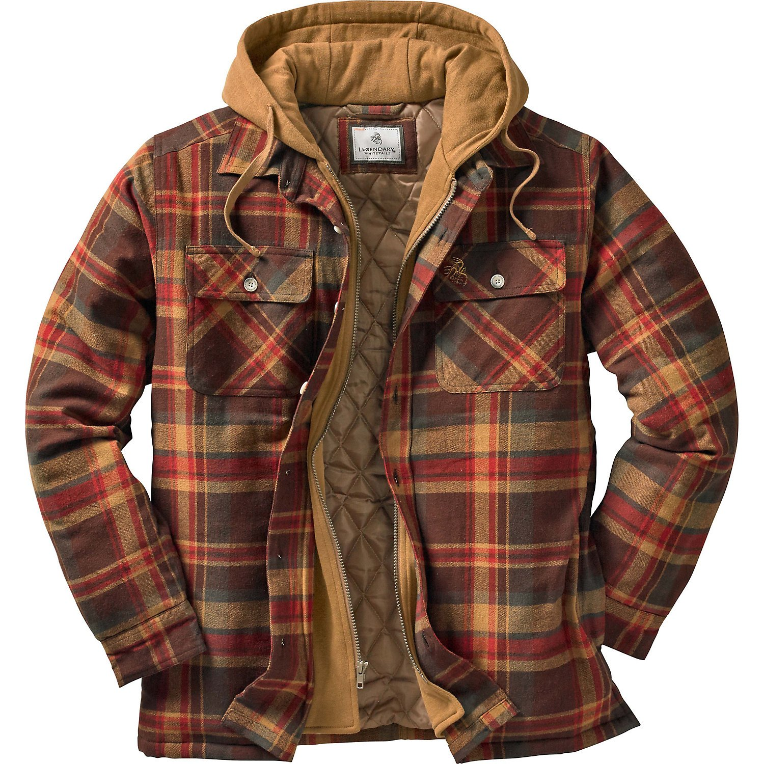Legendary Whitetails Men's Maplewood Hooded Shirt Jacket (Large Tall, Maplewood Brown Plaid) 6575 MWPL LT