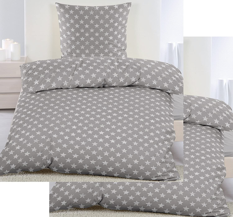 4-tlg. Biber Winter Bettwäsche 2x (135 x 200 + 80x80 cm), 100% Baumwolle, grau weiß Sterne klein (40104) KH-Haushaltshandel