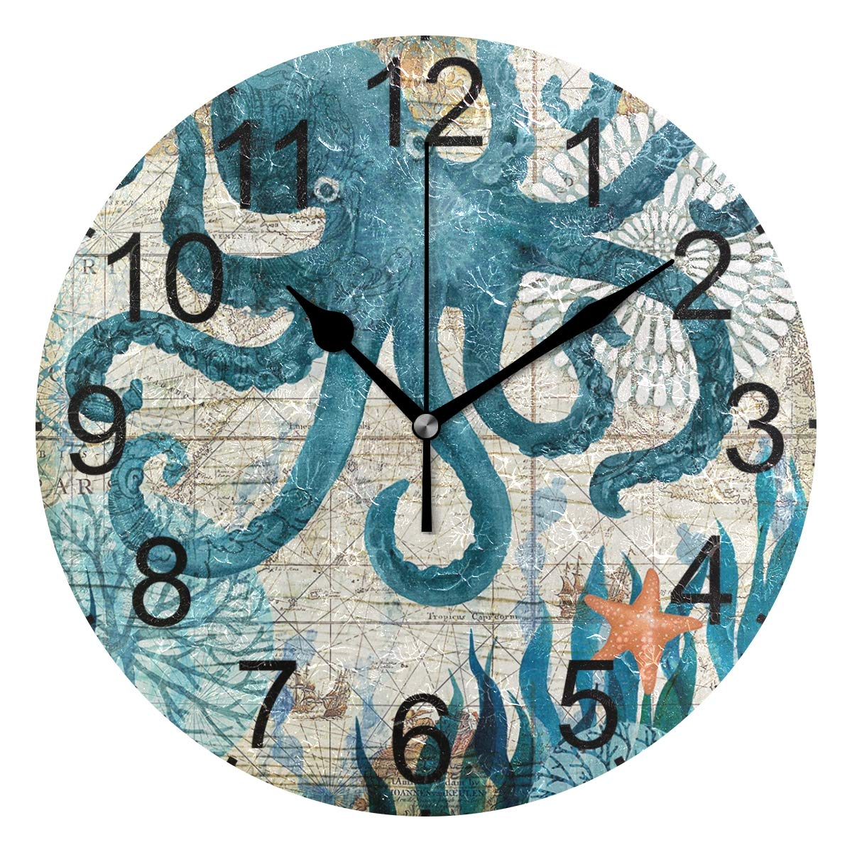 LUCASE LEMON ALEX Blue Octopus Nautical Map Round Acrylic Wall Clock Non Ticking Silent Clocks for Home Decor Living Room Kitchen Bedroom Office School