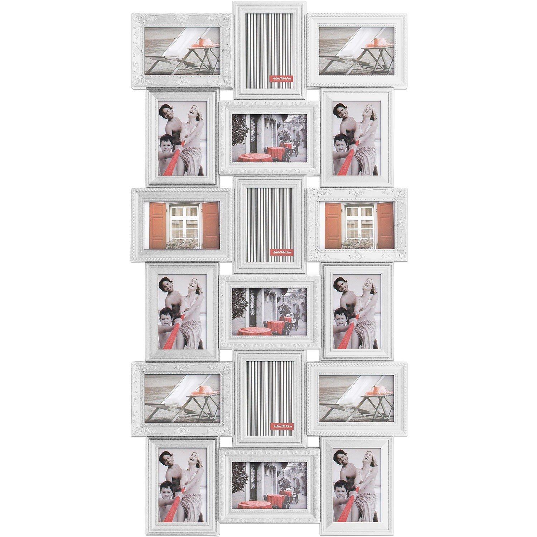 XXL Bilderrahmen Fotorahmen 52x102cm für 18 Fotos Weiss ...