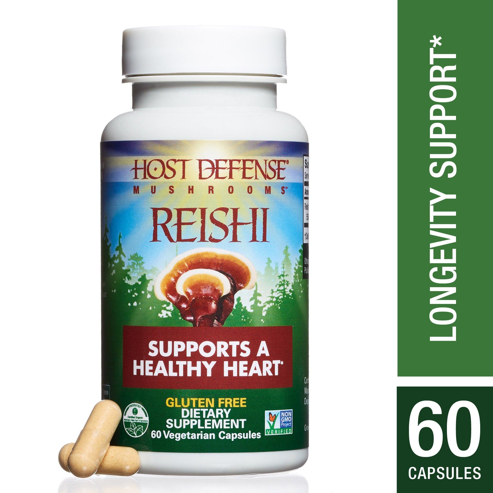 Host Defense - Reishi Capsules, Mushroom Support for Heart Health, 60 Count (FFP)