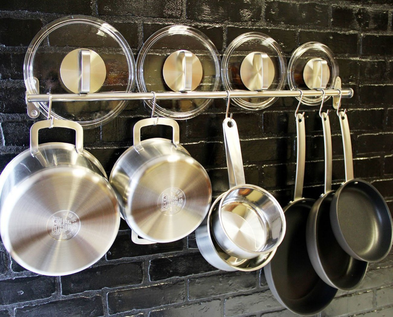 Wall Mounted Pan Pot Rack 35'', Willor Kitchen Pan Rack Utensil Hanger 35'' Stainless Steel Rail with 10 Hooks for Spatula Pan Saucepan Ladle