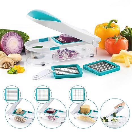 Mandolina de Verduras, 3 en 1 Multiusos Mandolina Slicer de Cocina Cortador Manual, Cortador de Verduras de Acero Inoxidable, Utensilios de Cocina ...