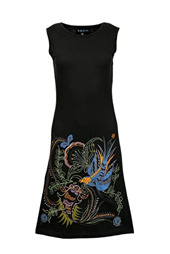 Frauen-Sommer-Sleeveless Kittel-Kleid mit Vogel-Stickerei
