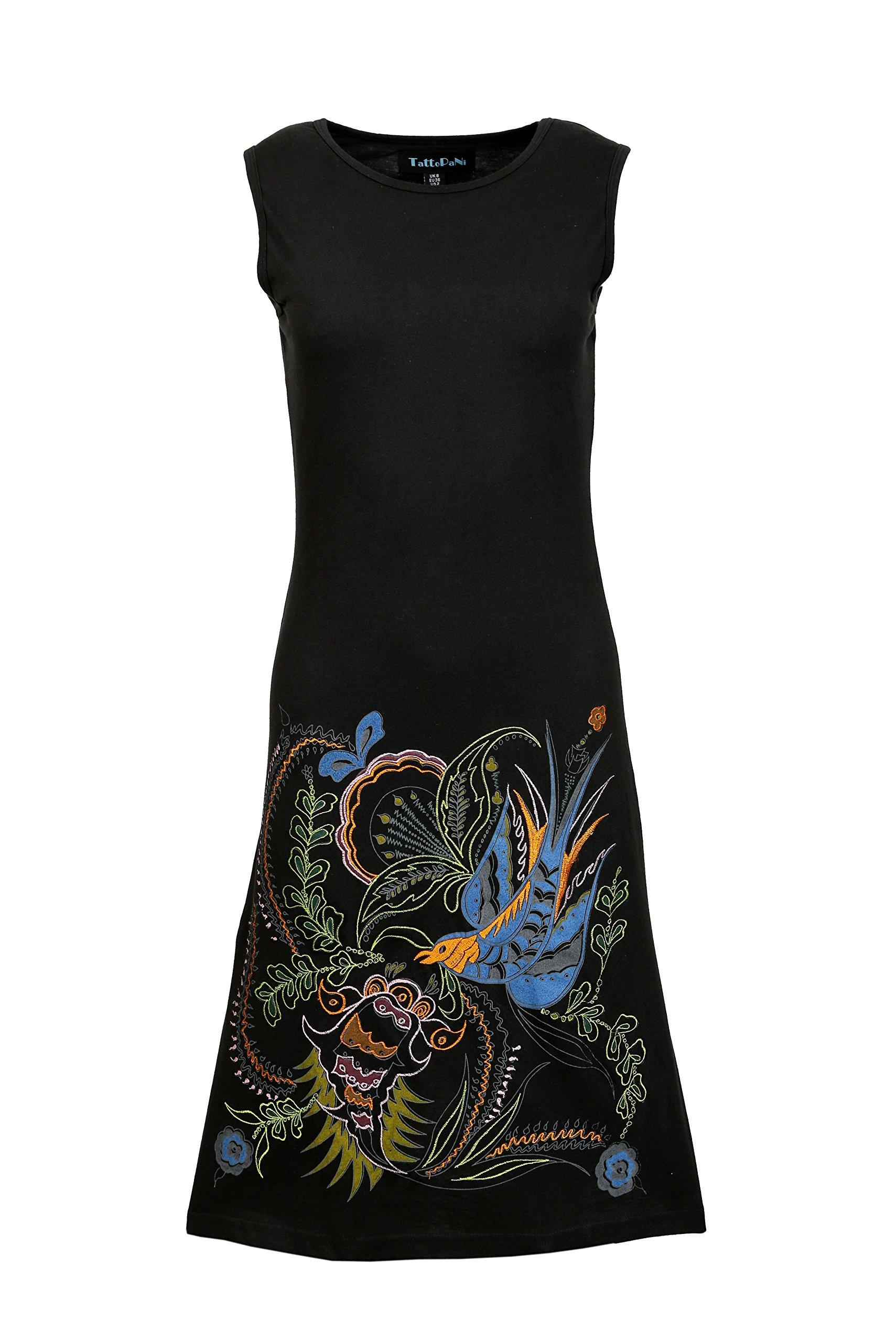 Sin mangas del vestido del verano de la túnica de la Mujer con el pájaro bordado