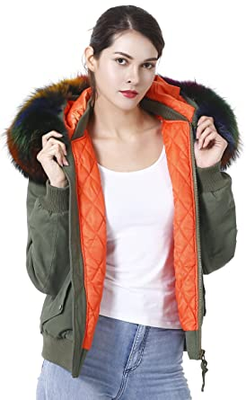 a6df46352 S.ROMZA Women Jacket with Removable Large Raccoon Fur Collar Hood ...