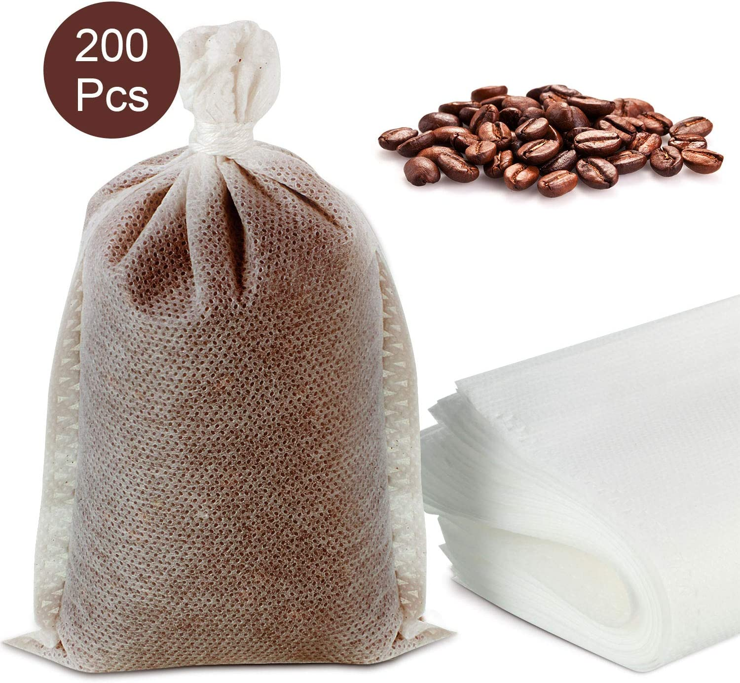 200 Pieces nicht Mess Cold Brew Coffee Filters,nicht Mess Coffee Filter Mesh Tea Filter Bags Disposable Mesh Brewing Bags with Drawstring for Concentrate, Iced Coffee Maker, Cold Brew Coffee, Loose Leaf Tea