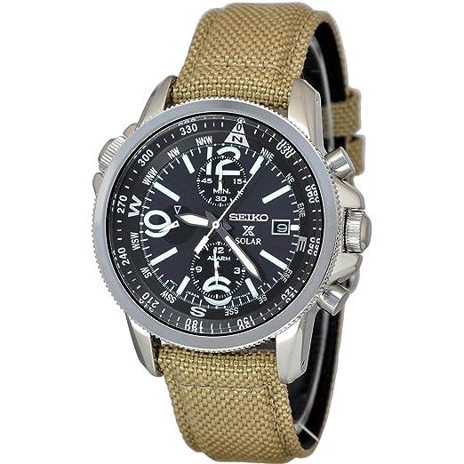 Mit Textil Uhr Armband Herren Seiko Chronograph Solar nwNvm80O