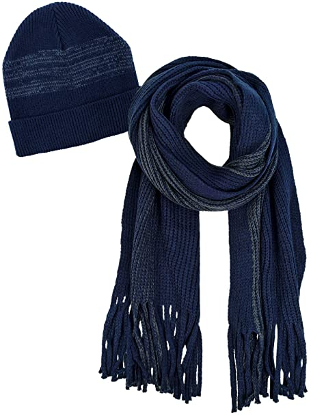 50f00450c3c3b Image Unavailable. Image not available for. Color  Navy Blue and Gray Mens  Winter Knit Hat and Scarf Set