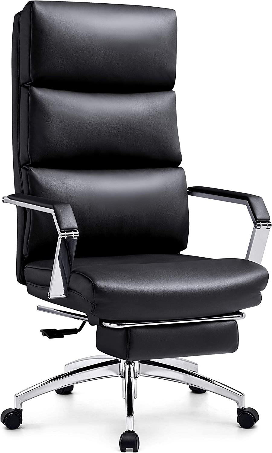 Ticova Executive Office Chair - High Back Rocking PU Leather Office Chair with Iron Armrest and Footrest - Reclining Computer Desk Chair with Ergonomic Segmented Back and Thick Padding