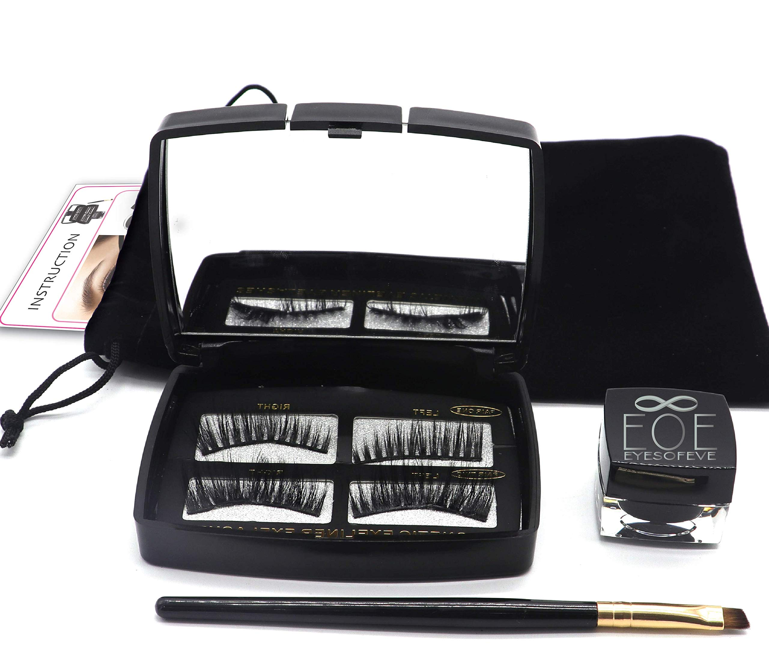 Magnetic Eyelashes Magnetic Eyeliner Gel 2019 LashLiner kit with Brush and Mirror. Lashes are natural looking, no glue reusable eyelashes Easy application