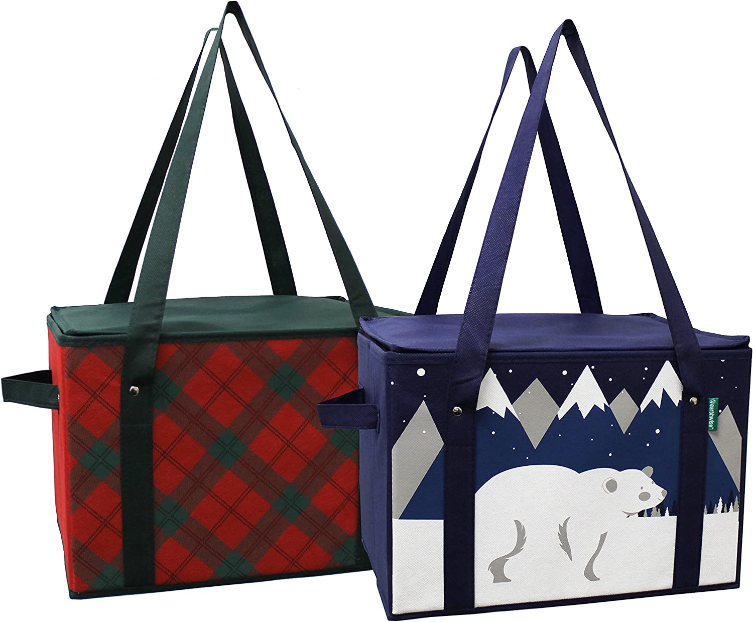 Earthwise Insulated Reusable Grocery Bag Shopping Box with Reinforced Bottom Panel and Zipper Top Lid with Extra Side Handles for Easy Lifting Xmas Christmas (Set of 2) (Plaid/Polar Bear)