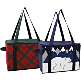 EarthWise Insulated Reusable Grocery Bag - Shopping Box Cooler Tote Winter and Plaid Design REINFORCED BOTTOM PANEL and ZIPPER TOP LID and EXTRA SIDE HANDLES FOR EASY LIFTING (Set of 2)