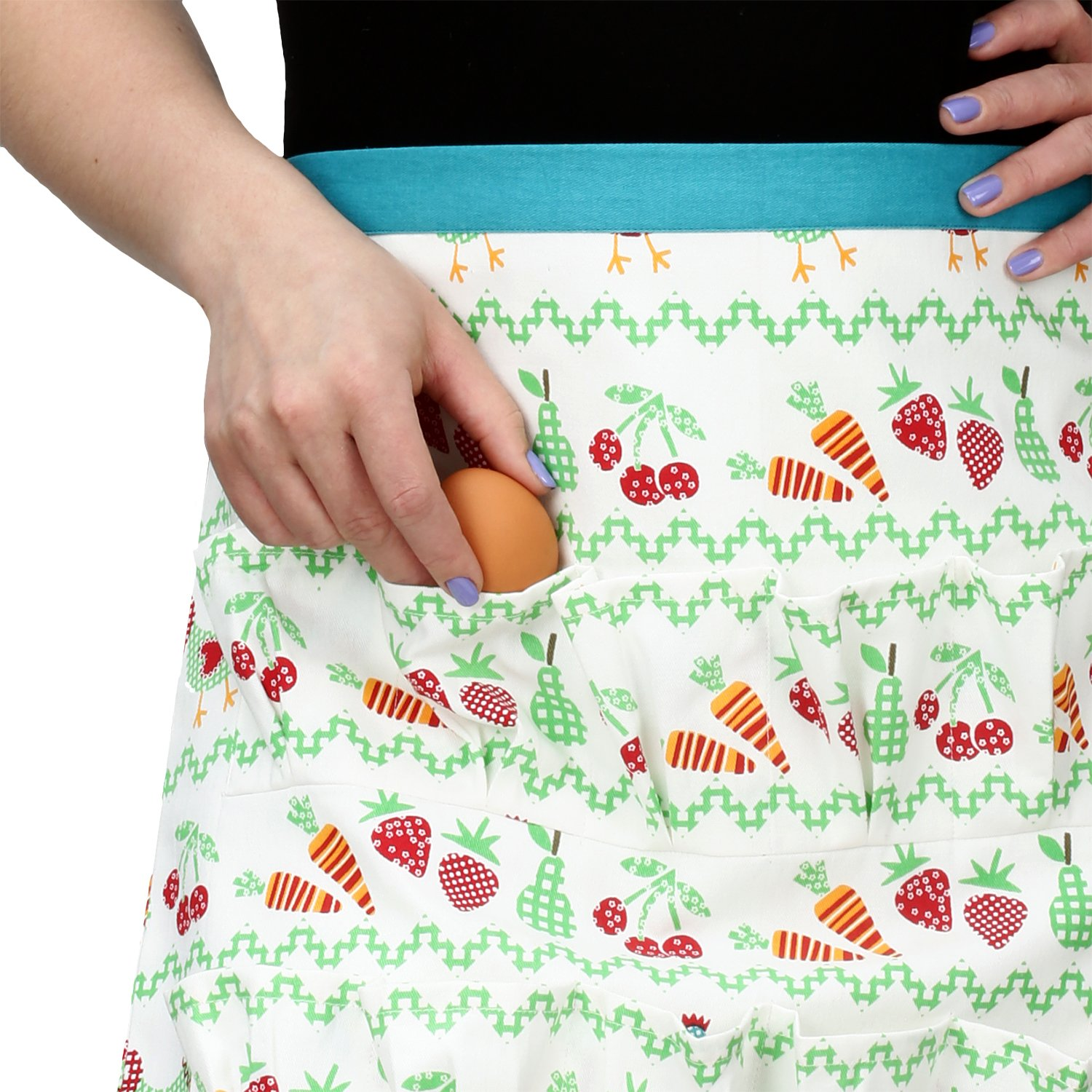 Cackleberry Home Egg Collecting & Gathering Apron 12 Pockets, Bright Garden