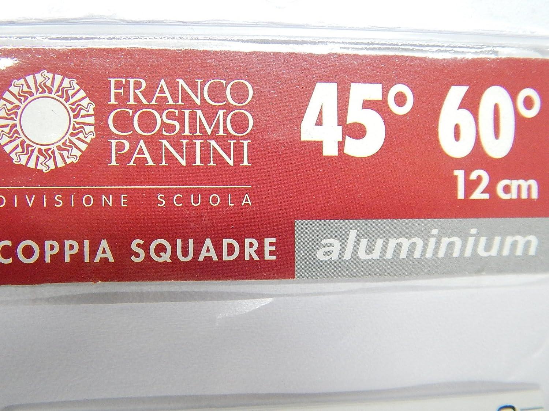 coppia di mini squadre in alluminio 45 gradi e 60 gradi 12 cm