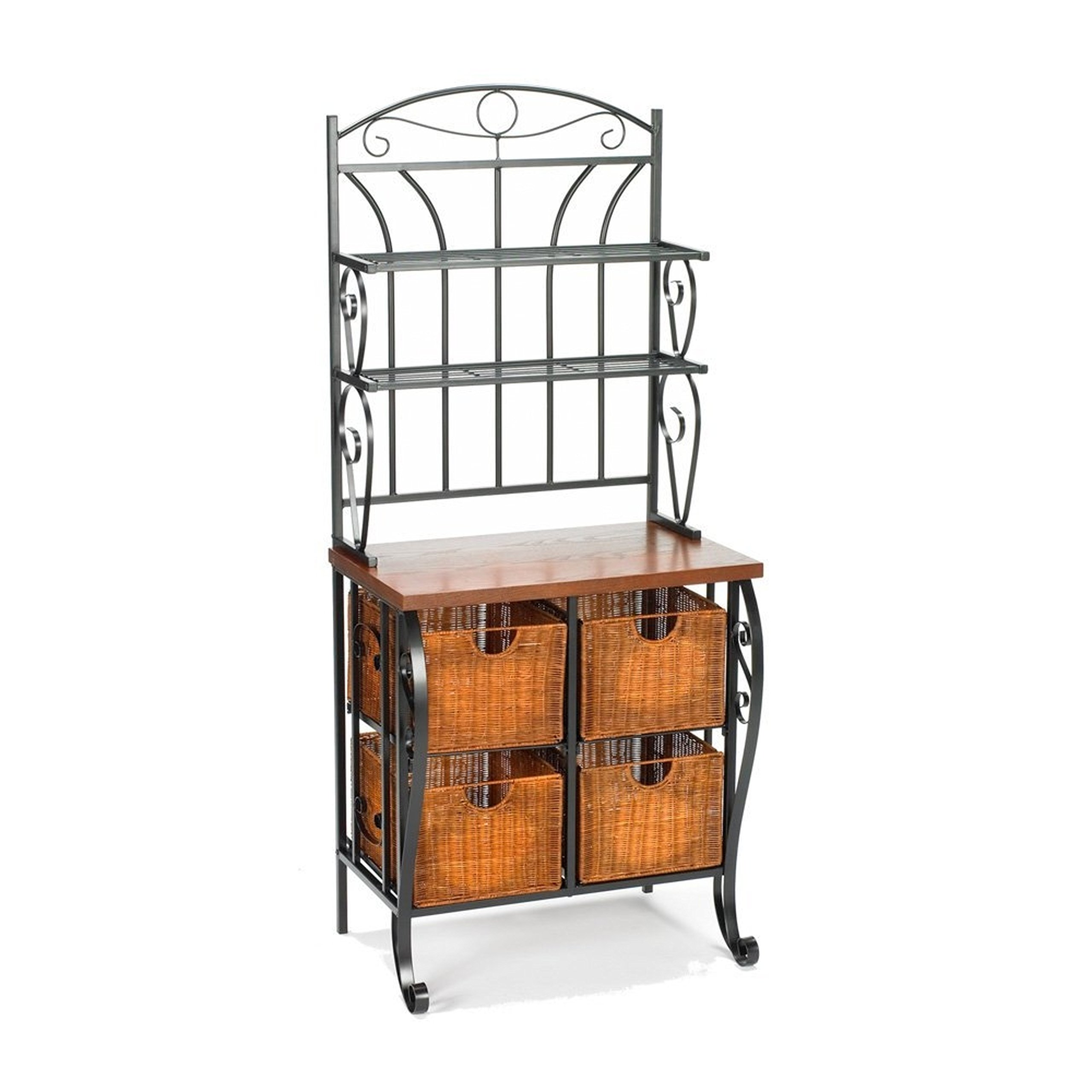 Traditional Look Classic Style Black Iron Baker's Rack With 4 Wicker Baskets by *Southern Enterprises